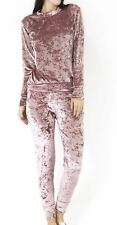 New Ladies Velour Velvet Crushed Look Tracksuit 2pc Set Joggers Loungewear 8-16