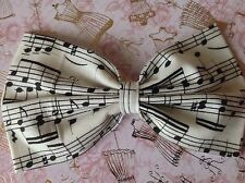 "HANDMADE 5"" IVORY MUSIC NOTE PRINT COTTON FABRIC BOW HAIR CLIP VINTAGE STYLE"