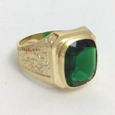 14K YELLOW GOLD GREEN STONE MENS RING