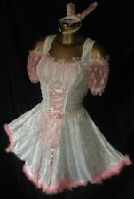 PINK SISSY BUNNY MAIDS DRESS AND WHITE SILKY SATIN RUFFLES TV DRESS SIZE 16 18