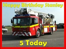 Personalised fire engine edible birthday cake topper A4