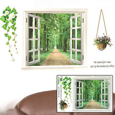 Removable Vinyl 3D Window View Forest Tree Decal Wall Sticker Home Decoration