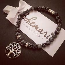 Snowflake obsidian tree of life charm bracelet gemstone jewellery boho gypsy
