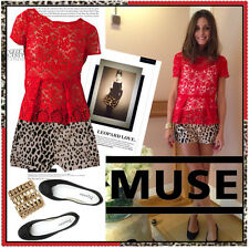 Zara Red Lace Guipure Peplum Top Small Celebrity Blogger Favorite