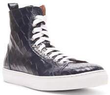 DONALD J PLINER Crocodile-Embossed Leather Hi-Top Sneaker 9 US Made in ITALY