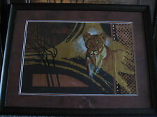 """Original Artwork African Animal """"Lion"""" By Lucy Doran With Wooden Frame & Signed"""