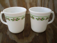 Corning Milk Glass Dishes Winter Holly Set Of 2 Christmas Cups Mugs
