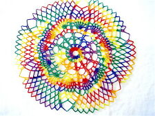 """SMALL- Rainbow Colored Round Hand Crocheted Doily 10"""" Red Blue Green"""