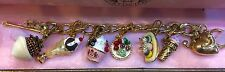 "JUICY COUTURE ""SWEET"" THEME CHARM BRACELET WITH 6 RETIRED CHARMS"