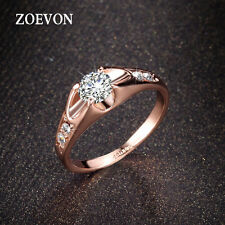 New Women Charm 18K Rose Gold Crystal CZ Engagement Wedding Band Ring Size 0.5L
