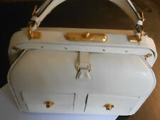 "VINTAGE LEDERER--FRANCE-- WHITE LIZARD PATCH POCKETS SUIT BAG---9"" X 7 1/4"" X 4"""