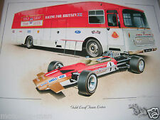 TEAM TRANSPORTER LOTUS 49 JOCHEN RINDT GRAHAM HILL COLIN CHAPMAN SIGNED PRINT F1