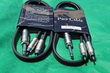 "2-Pack 3 Ft Kirlin 1/4"" TS Mono Male to Dual RCA Male Noise-Free Audio Cable."