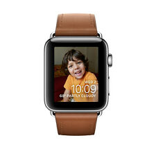 Apple Watch Series 2 38mm Stainless Steel Case Saddle Brown Classic Buckle - (MN