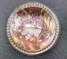 Vintage Glass Paperweight Picture Kitten