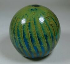 Mdina Malta Studio Art Glass Large Paperweight 1970s Green Blue Tiger Signed