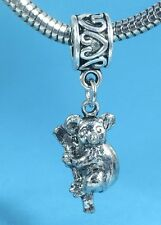 Adorable Koala Bear 3D Dangle Slider Charm fits European Bracelets or Necklace
