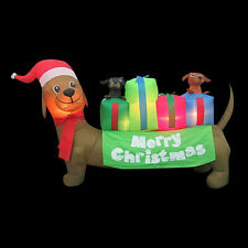 CHRISTMAS  SANTA DACHSHUND HOT DOG WEINER DOG PUPPIES AIRBLOWN INFLATABLE  6 FT