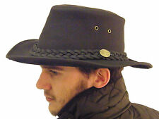 Campbell Cooper Brand New Leather Australian Kangaroo Bush Hat Black Small 57
