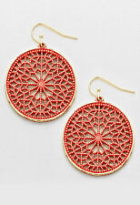 Gold and Coral Floral Filigree Dangle Earrings