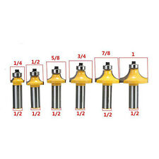 """6Pc Round Over Bead Edge Forming Router Bit Set - 1/2"""" Shank Woodworking Cutter"""