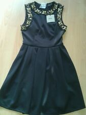 BNWT ASOS  BLACK JEWELLED PARTY SKATER DRESS SIZE 8