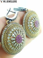 TURKISH OTTOMAN HANDMADE JEWELRY 925 STERLING SILVER RUBY EARRINGS E2012