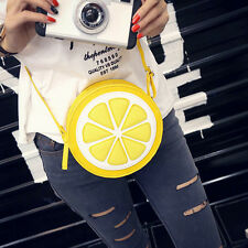 Sweet Fruit Lemon Leather Handbag Yellow Circular Round Shoulder Bag
