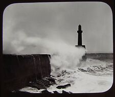 Glass Magic Lantern Slide BREAKING WAVES C1890 PHOTO CLOUD STUDY LIGHTHOUSE
