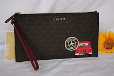 NWT Brown MICHAEL KORS Illustrations DRIVE AWAY LARGE ZIP CLUTCH Purse Wallet