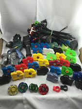 Huge Beyblade Lot Tops Cords Launchers Parts Pieces