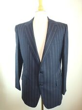 H HUNTSMAN ENGLAND NAVY BLUE CHALK STRIPE WOOL SPORTCOAT JACKET 40 42 CLASSIC