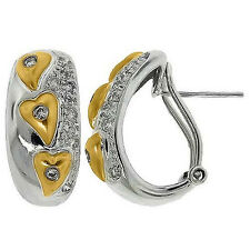 0.35 CT G SI ROUND CUT TWO TONE 14K GOLD DIAMOND EARRINGS OMEGA CLIP