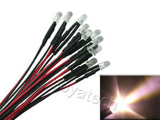 30 Pieces 5mm Warm White Pre-wired Prewired Led Light 12VDC With Tracking code