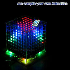 3D CUBE Multicolor mini LED Cubeeds DIY KIT with Animation 8x8x8 for Arduino