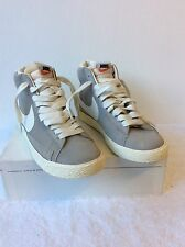 BRAND NEW NIKE BLAZER GREY & WHITE HIGH TOP TRAINERS SIZE 4/37 COST £70
