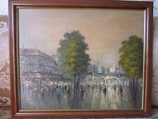 Continental School Oil on Board Parisien Street Scene. Signed Oliveri. Framed..