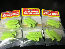 Lot of 6 Packs - Strike King Catfish Dynamite Dipping Worm - Chartreuse