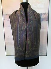 $310 ETRO Milano Wool & Silk Paisley Scarf Olive/Peacock Blue  Made In Italy