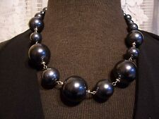 BLACK PEARL BUBBLE BEAD SILVER LINKS FASHION STATEMENT NECKLACE
