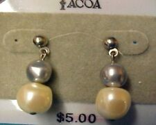 Tacoa Florenza Faux Pearl Costume Fashion Dangle Post Pierced Earrings Used