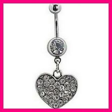 1 PIERCING NOMBRIL CRYSTAL STRASS COEUR SWAROVSKI BELLY NAVEL RING RING HEART