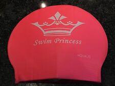 New in Bag AQUALIS Kids Junior PINK SWIM PRINCESS Latex Swim Cap - Swimming