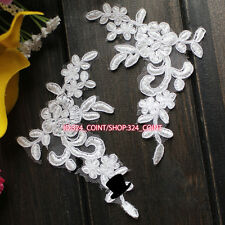 HB180 2PC,Flower Motif Fabric Embroidered tulle Lace Sewing Applique Dress Decor