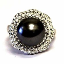 925 sterling silver black mabe pearl crystal fashion ring 10g womens estate
