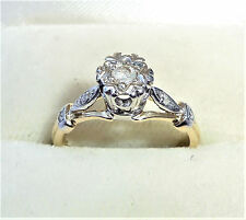9ct gold 0.10ct Diamond Solitaire Ring with Accents & Star, Size K, US 5 1/4