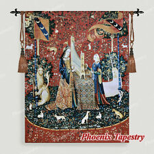 """The Lady & Unicorn Medieval Fine Art Tapestry Wall Hanging - HEARING 54""""x42"""", US"""
