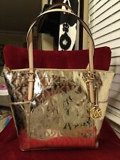 NWT MICHAEL KORS MK SIGN. MIRROR METALLIC JET SET EW TZ TOTE BAG IN PALE GOLD