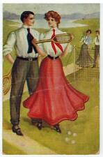 Vintage 1907 S. S. Porter Postcard A LOVE GAME # 190 Flirting Tennis Unposted
