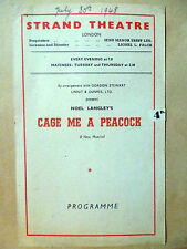 STRAND THEATRE PROGRAMME 1948- GAGE ME A PEACOCK by Noel Langley
